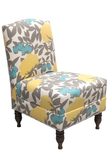 nail button armless chair peony aegean blue gray and yellow love rh pinterest com