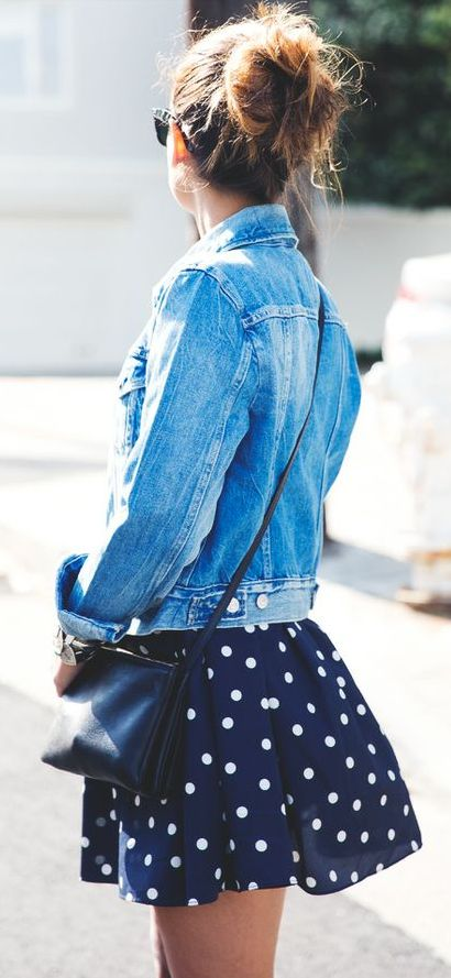 Fashion / Dots + denim + bun
