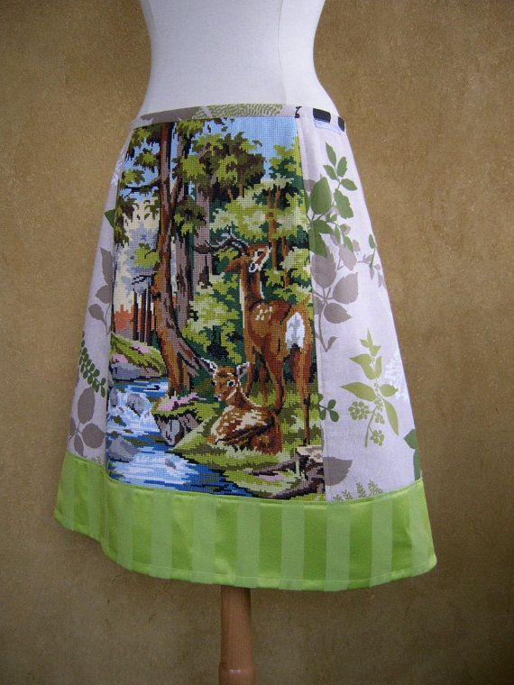 I desperately need this. And someone needs to buy it for me now. ...Seriously...   Hey, I found this really awesome Etsy listing at https://www.etsy.com/listing/168757699/two-deer-a-line-skirt-upcycle-curtain