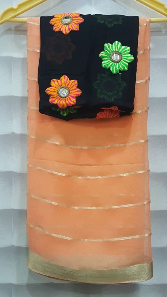 allover zari lines with designer blouses Price : 4000 #abeli #chiffonsaree #designer #blouse