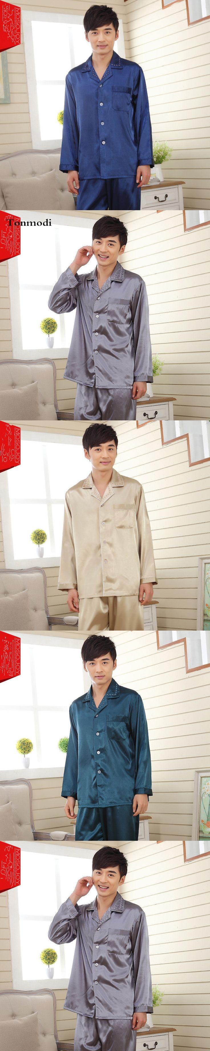 7 Color Men's Silk Pajamas Luxurious Silk Satin Pyjamas Pijama Men, Men's lounge Pajama Sets Plus Size 3XL Pijama Hombre