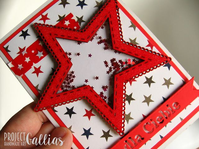 ProjectGallias dla Agateria Craft - Kartka gwiazdka - shaker-box - A star shaped shaker-box card.