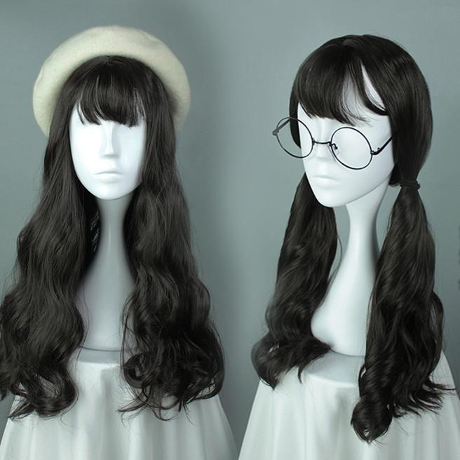 Black Natural Long Wavy Harajuku Wig
