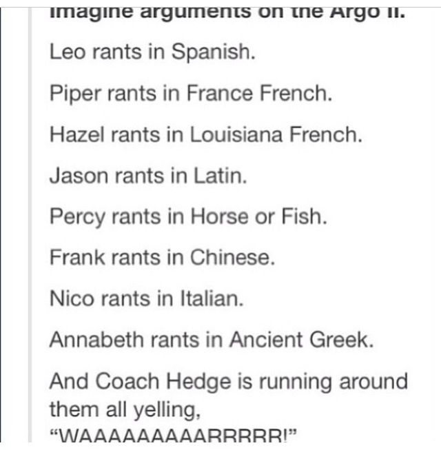Percy ranting in Horse or Fish... *rubs temples* What would that even sound like.