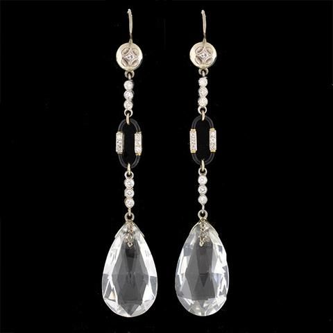 Art Deco 14kt Rock Quartz Crystal & Diamond Earrings – A. Brandt + Son