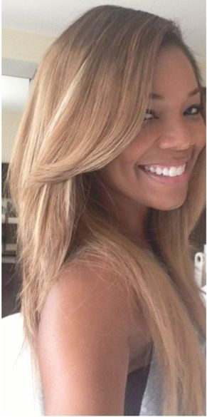 Gabrielle Union, blonde.  :)  Not a fan of hers but this is sooo pretty on her, especially in a different light where the smooth deepness of her skin contrasts against the light color! So pretty.