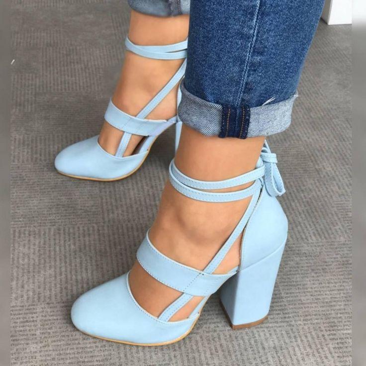 Elvia Mavi Deri Kalın  Topuklu Ayakkabı