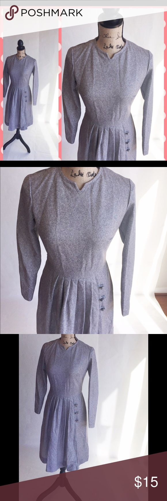 """Classic grey vintage dress This beautiful dress will make you look more like the classic beauty you already are. Measures 14"""" shoulder to shoulder, 25"""" at true waist and 35"""" right below the hips. Authentic Original Vintage Style Dresses"""