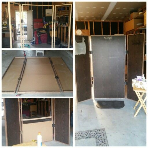 "DIY overspray screen for my mobile spray tanning business. Made out of 1"" oak trim although I would recommend using a softer wood (cracked when I would screw things without pre-drilling), and 1/8"" plywood peices covered in mahogany contact paper."