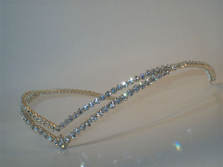 Handmade beautiful diamanté double wishbone forehead bo ho wedding bridal tiara