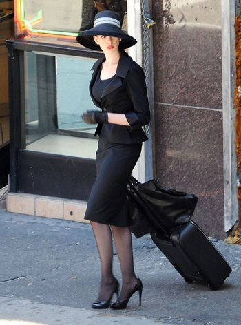 Anne Hathaway, the Dark Knight Rises. vintage women's suit and hat
