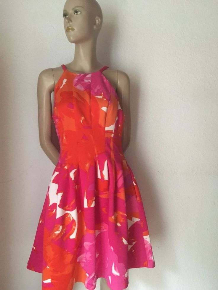 #50er Stil Kleid, pink/orange, Rock mit Stand, Neopren, 38/40