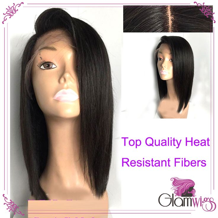 Short Lace Front Wigs Black Heat Resistant Fiber Bob Synthetic Lace Front Wigs Straight Glueless Short Wigs for Black Women