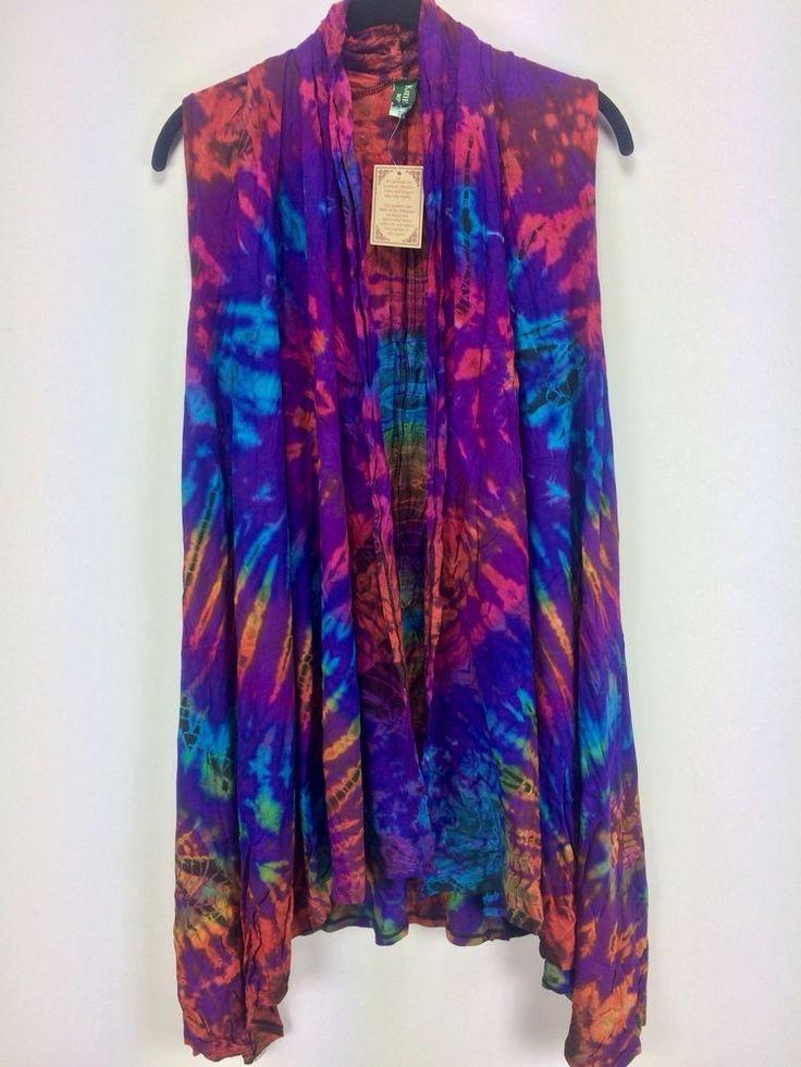 Kathmandu Imports One Size Purple Tie Dye Vest Rayon Spandex Boho Hippie M L 2XL #KathmanduImports #Vest
