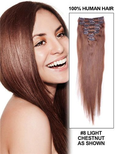 CHEAP 14 INCH 7 PIECE STRAIGHT CLIP IN HAIR EXTENSIONS WHOLESALE CELEBRITY HAIR EXTENSIONS