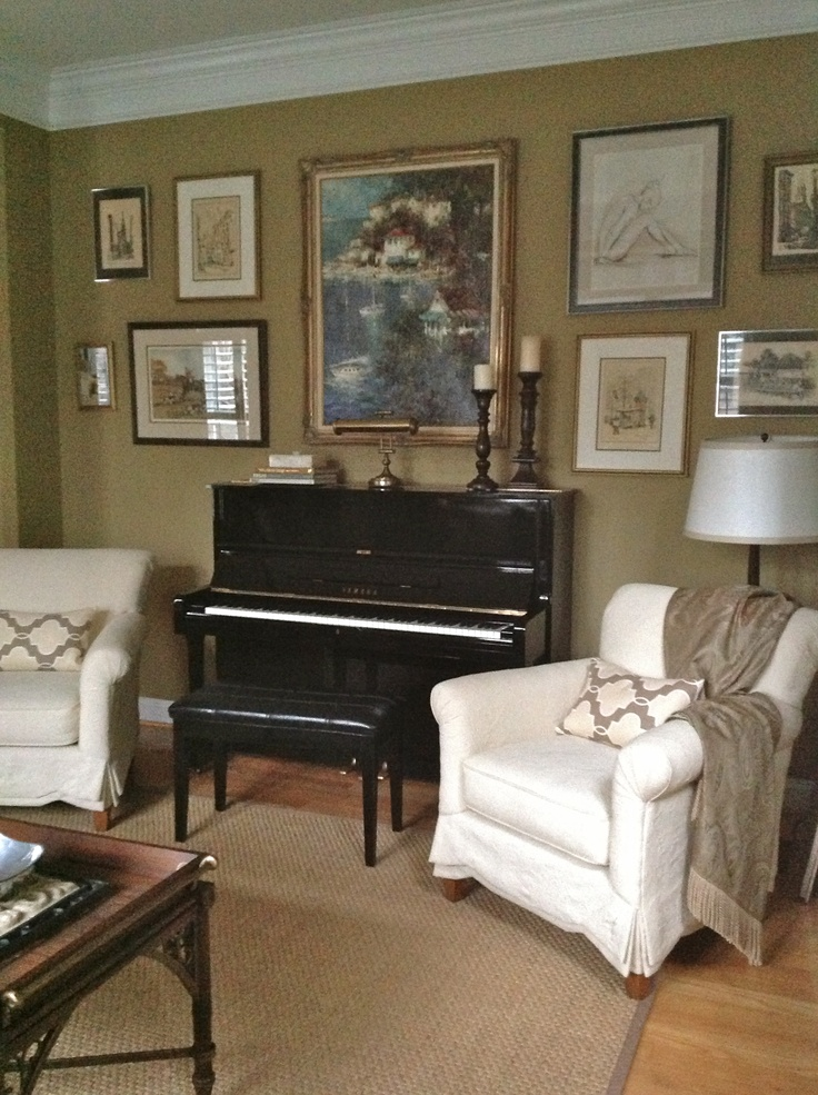 Gallery wall around piano Sitting Room