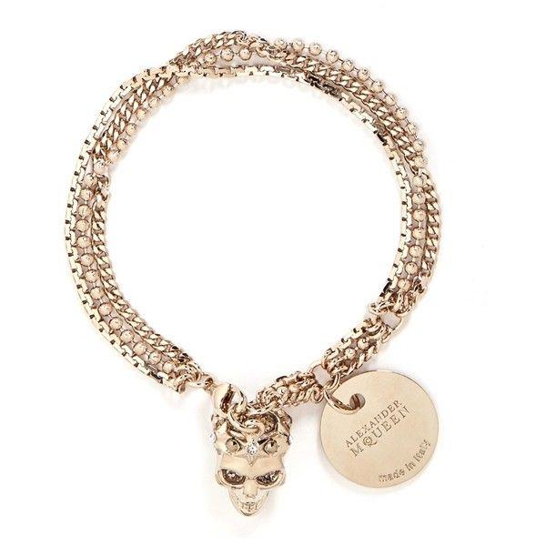 Alexander Mcqueen Swarovski crystals royal skull triple chain bracelet ($375) ❤ liked on Polyvore featuring jewelry, bracelets, metallic, victorian jewelry, victorian bangle, skull jewelry, alexander mcqueen bangle and gothic jewelry