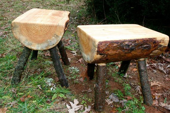 Log stools  benches  tables by customrustics1 on Etsy, $60.00