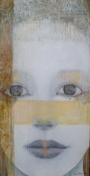 Joan Dumouchel - Contemporary Artist - Figurative Painting - Des mots plein la tête