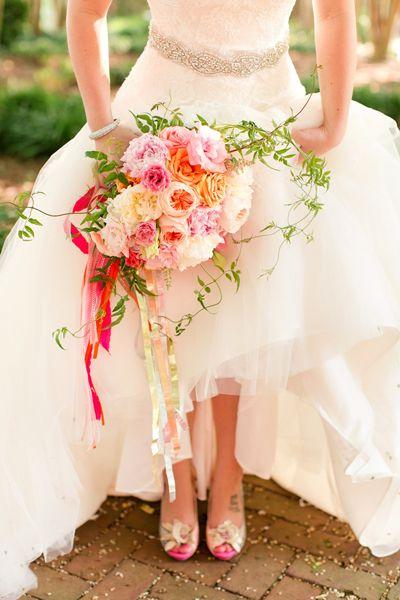 pink + orange bouquet with ribbons + vines   Katelyn James #wedding