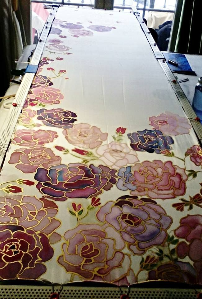 Gorgeous floral silk painting