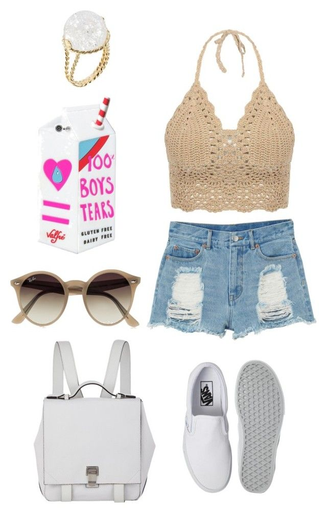 """outfit to amusement park"" by acaxiea ❤ liked on Polyvore featuring Monki, Vans, Proenza Schouler, Valfré, Ray-Ban and Aurélie Bidermann"