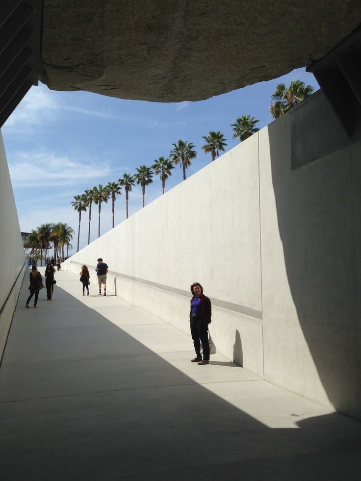 Levitated Mass by Michael Heizer Love the line of palm trees, very LA.