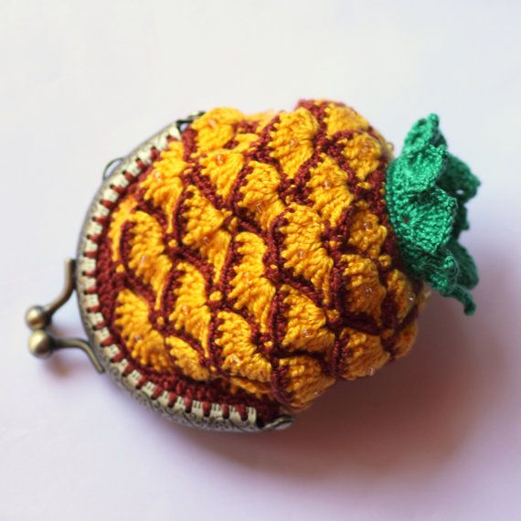 Coin purse pinapple crochet cotton beads metallic clasp on Etsy, $20.36