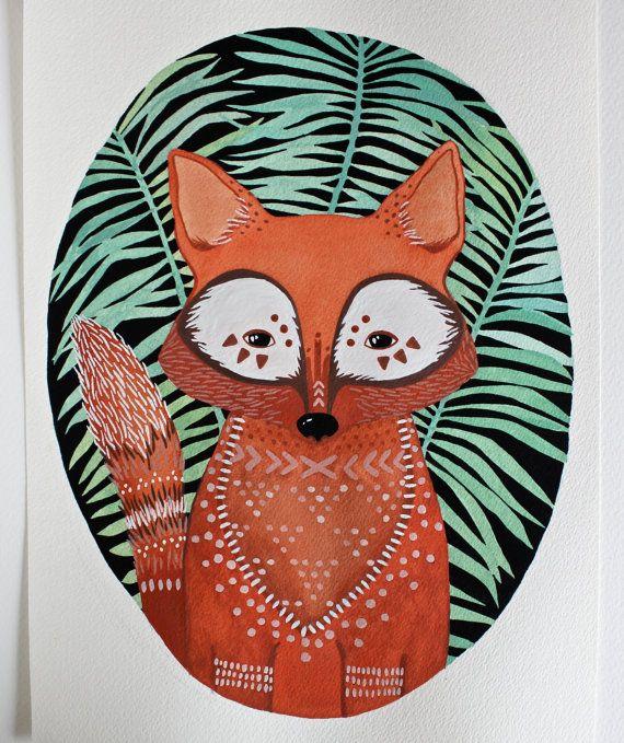 Watercolor Painting - Fox Illustration Art - River Luna - Archival Print 8x10. $20.00, via Etsy.