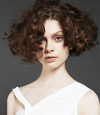 A Medium brown curly ringlets messy pob bob womens haircut hairstyle by Electric