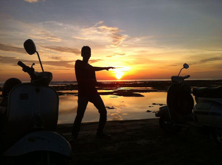 Sunset with Vespa