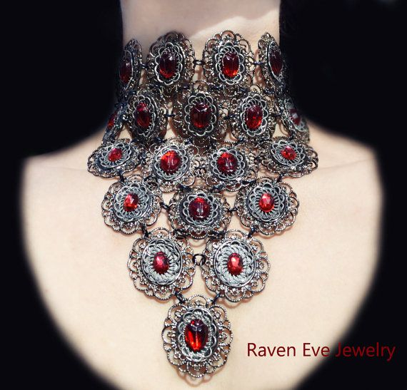 Vampire's Kiss Gothic Choker Bejeweled Fantasy Jewelry with Vintage Glass. $220.00, via Etsy.