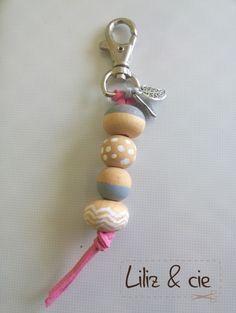 Porte-clés DIY Perles en bois/posca