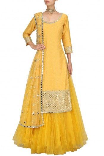 Yellow Mirror Work Kurta and Skirt Set By Umrao Mirza
