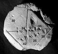 Babilônico YBC tablet 7289 mostrando o número sexagesimal 1; 24,51,10 aproximar  √ 2.