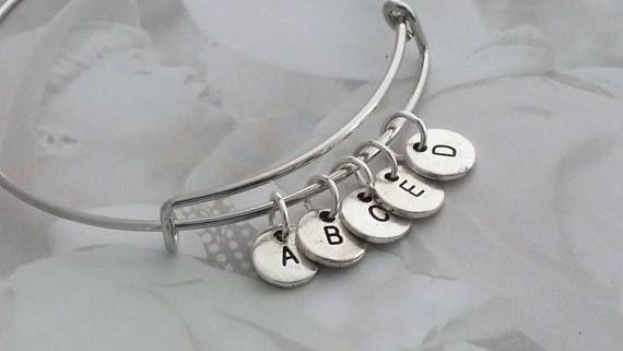 Personalized Bangle Bracelet Silver Initial Bangle Hand