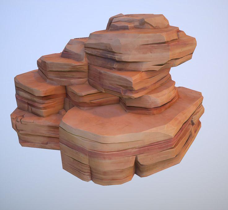 cartoon red desert rock 3d model