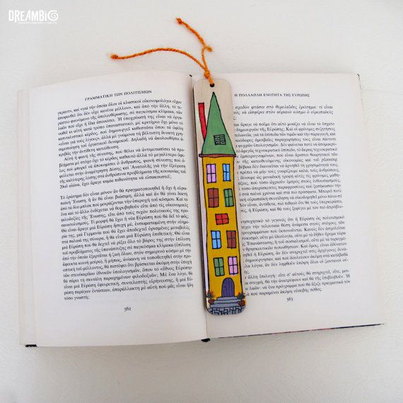 Hand painted house bookmark wooden bookmark by DreamBigHandmade