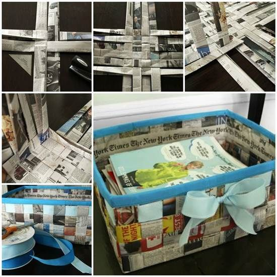 DIY Weave a Simple Storage Basket from Old Newspaper