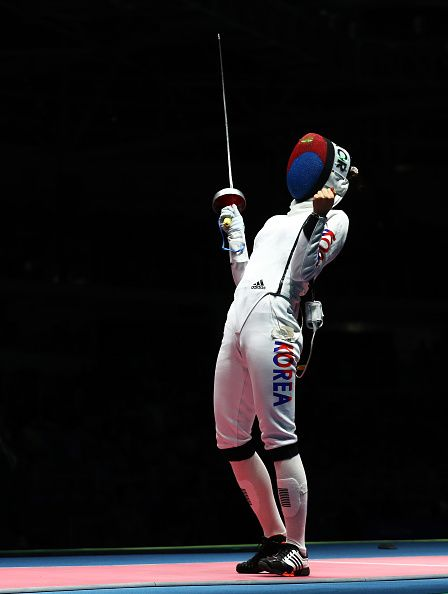 #RIO2016 Best of Day 1 - Injeong Choi of Korea in celebrates winning a point against Violetta Kolobova of Russia during the Women's Individual Epee round of 32 on Day 1 of...