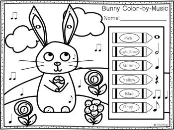 Easter Music Activities/Worksheets: Printable Games, Glyph