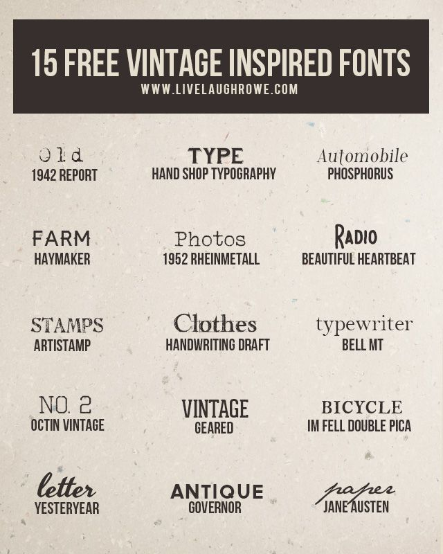 If you love free fonts, then you'll want to check out these 15 free vintage inspired fonts! Who doesn't love a vintage font? livelaughrowe.com