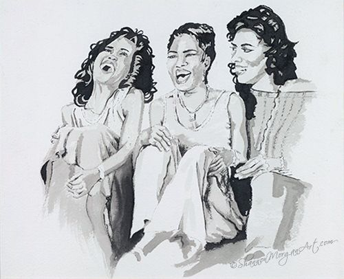 #art 040 Waiting to Exhale - Portrait, b/w, rendition of photo w/ 3 black women from the movie Waiting to Exhale. (10x8 print) Media: Paint Price: $250 CAD  Buy art online: http://shannonmorganart.com/portraits/040-waiting-to-exhale/