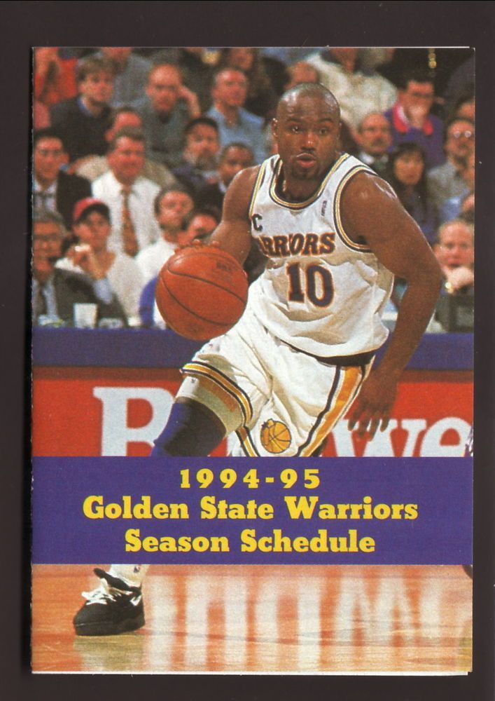 Tim Hardaway--1994-95 Golden State Warriors Schedule--Great Western Bank #PocketSchedule