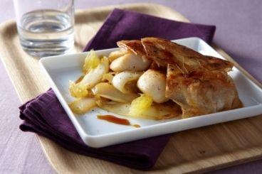 Croustillant d'endives caramélisées à l'orange et aux noix de Saint-Jacques, les recettes de nos chefs