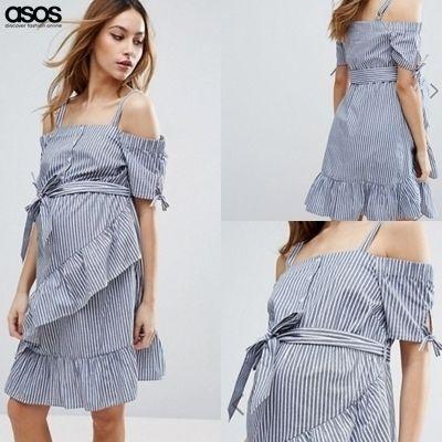ASOS エイソス マタニティ オフショルブルーストライプ膝丈ワンピース | ceres マタニティ服と授乳服の専門店