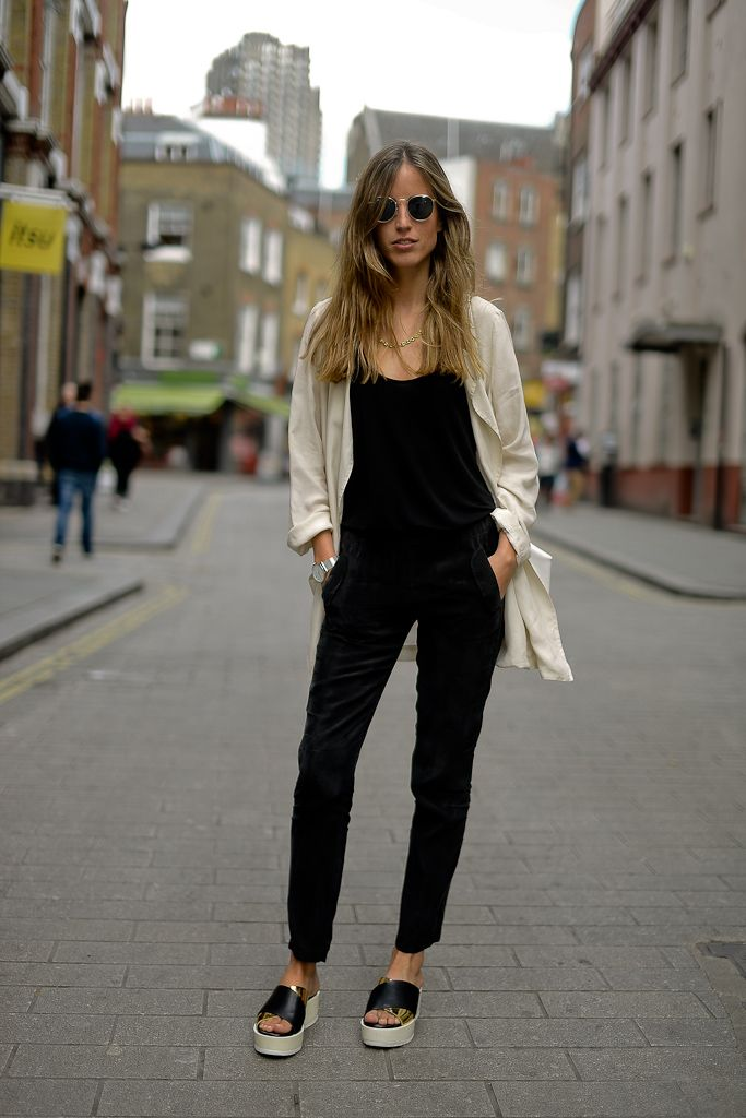 Black Jumpsuit White Jacket Black Slippers Looks Pinterest Nu 39 Est Jr Blazers And Nice