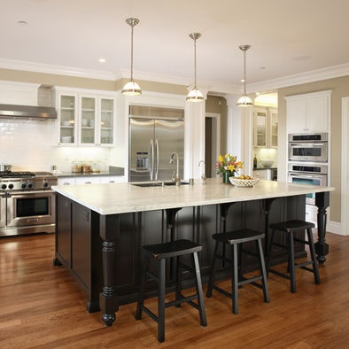 25 best images about kitchen remodel white cabinets dark island on pinterest dark - White kitchen with dark island ...