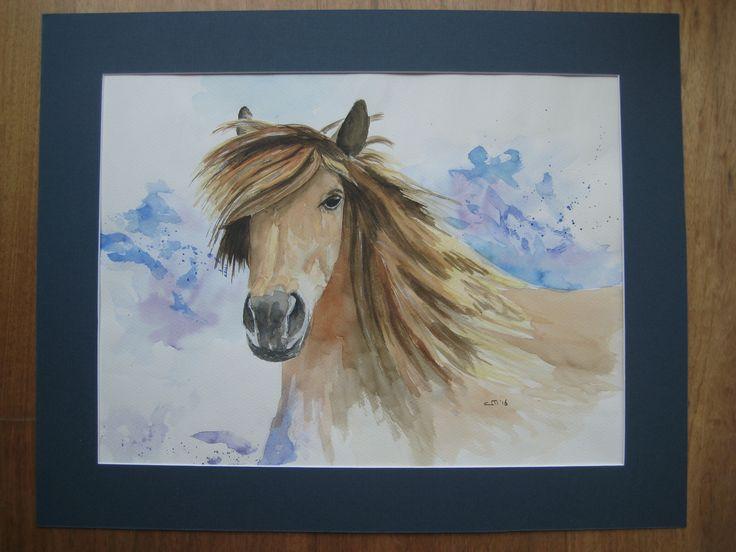 Aquarel bruin paard, 50 x 40 cm.