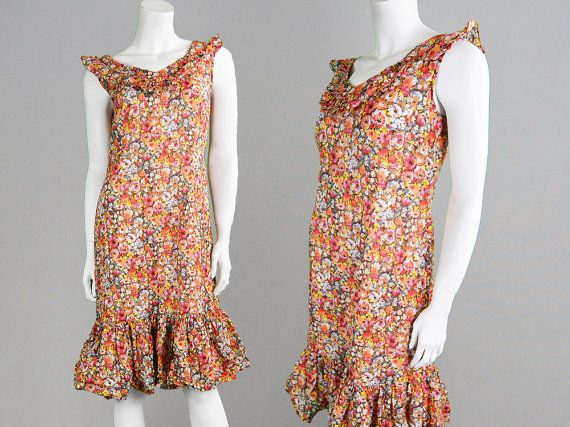 Vintage 70s Shift Dress Floral Dress Frilly Dress by ZeusVintage